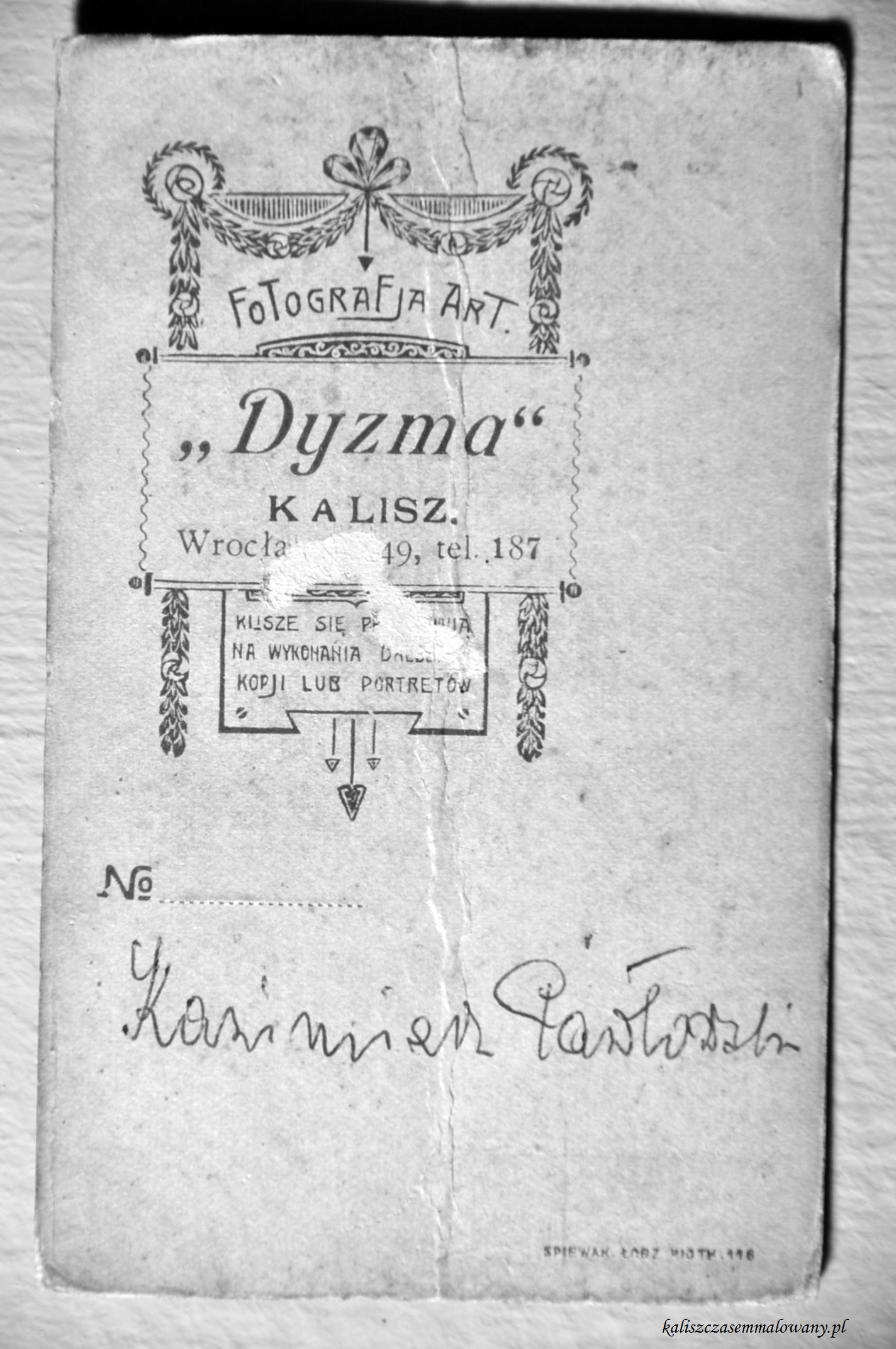 Kazimierz Pawlowski pracownia Dyzma_rewers